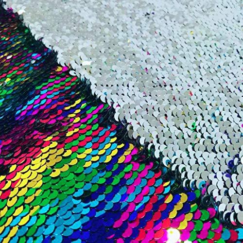 ShinyBeauty Paillettenstoff Material Meerjungfrau Stoff von Das Hof zweifarbige Pailletten Stoff Sequenz Stoff reversible Stoffe (1 Yard, Regenbogen Silber)