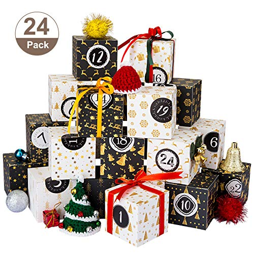 Kesote Adventskalender zum Befüllen Schachteln 24 Boxen Weihnachten Kisten Geschenkboxen Schwarz Weiß Karton mit Zahlenaufkleber zum Basteln und Aufstellen Weihnachten Deko