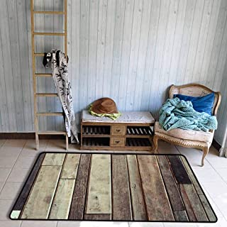 Wooden Non Slip Rugs Antique Planks Flooring Wall Picture American Style Western Rustic Panel Graphic Print Anti-Static W55 x L63 Brown