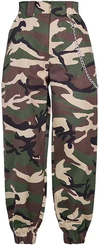 Fashion Chain Military Camouflage Pants Women Army Black high Waist Loose Camo Pants