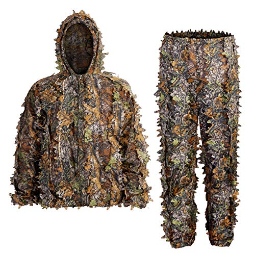 SCYLFEHDP Ghillie Suits, 3D Leafy Ghille Suit, Hooded Hunting Airsoft Camouflage Suits for Jungle Hunting, Shooting, Airsoft, Wildlife Photography or Halloween.