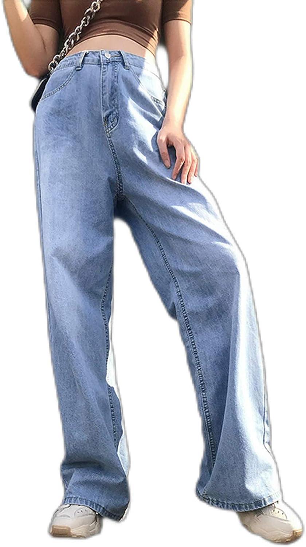 Women Ripped Jeans High Waist Wide Leg Denim Pants Classic Straight Y2K Jeans Pants Baggy Casual Streetwear