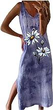 Zomerjurk voor dames, dames, V-hals, printen, stropdas-dye vest, bretels casual, split, lange rok, jurk, strandfeest, lang...