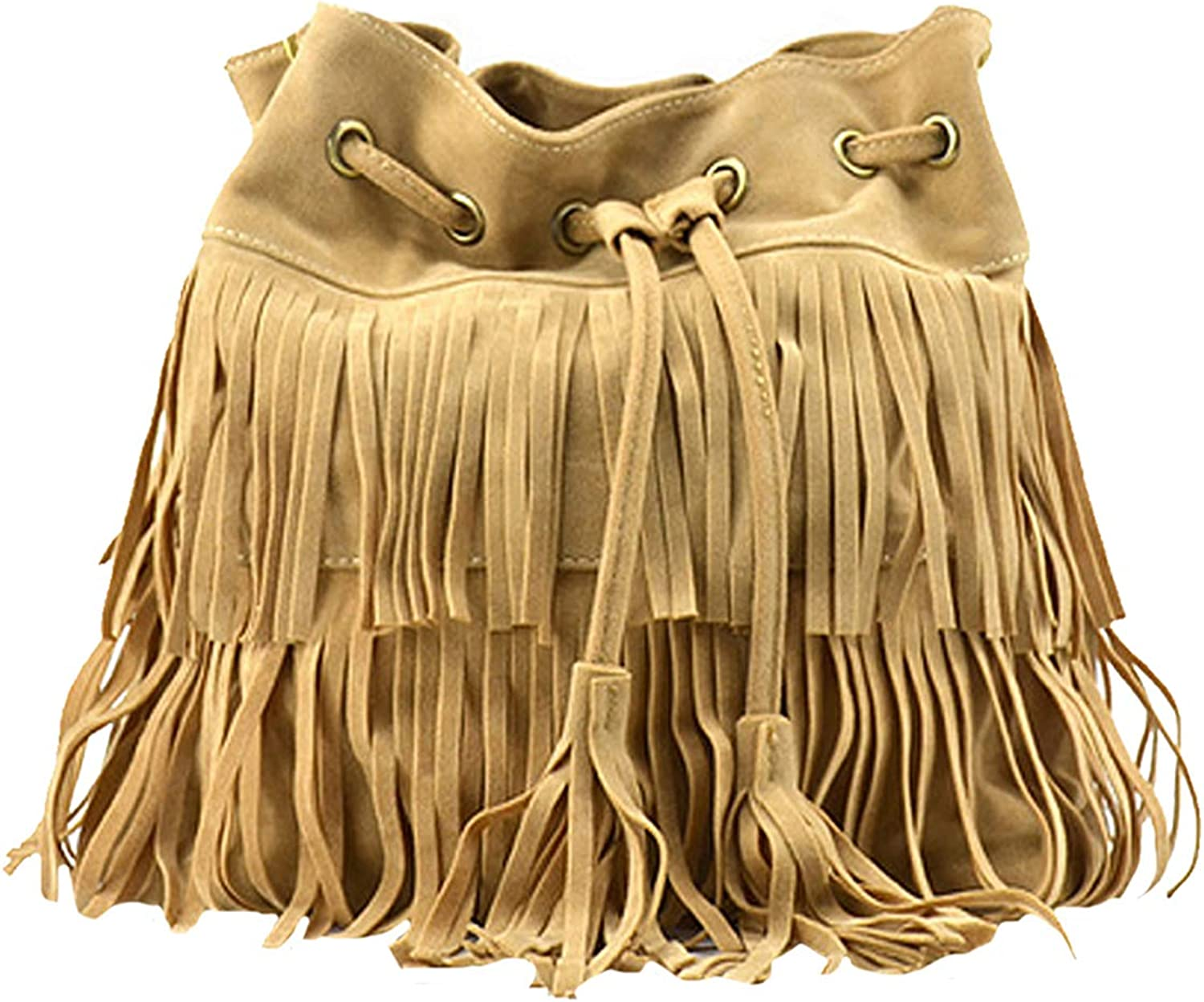 Goodbag Boutique Suede Fringe Tassel Messenger Bag Hippie Shoulder Bag Hobo Bag