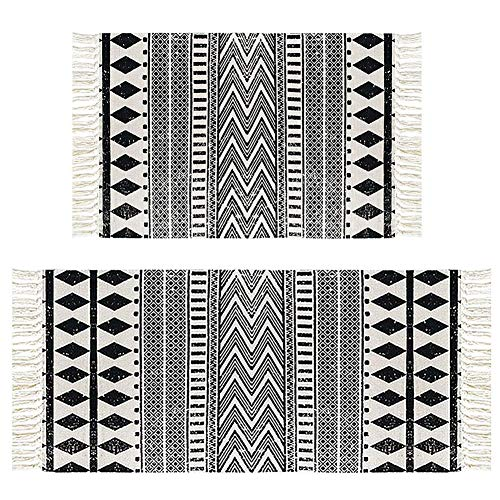 HEBE Cotton Area Rug Set 2 Piece 2'x3'+2'x4.2' Machine Washable Black and Cream White Hand Woven Cotton Rug with Tassels Cotton Area Rug Runner for Living Room, Kitchen Floor, Laundry Room