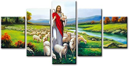 HD Printed Pictures Canvas Wall Art 5 Piece Christ Jesus Good Shepherd Painting Home Decor Modular Poster Living Room Framework