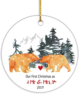 VILIGHT First Christmas as Mr and Mrs Bear Newlywed Ornament 2019-1st Xmas Gifts for Just Married Couple - 2.75 Inch Flat Circle Ceramic Decor with Tag & Gold Ribbon