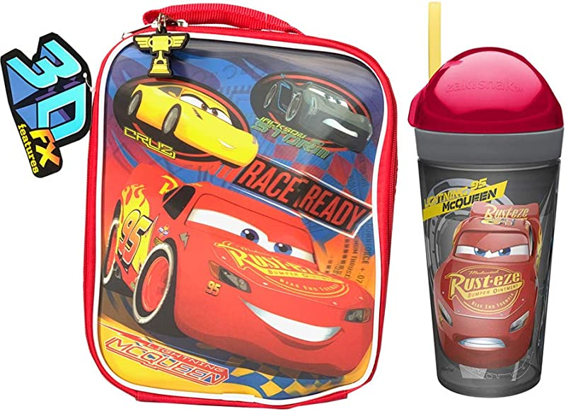 Lightning McQueen Tumbler Lunch Bag A Set Of A Lightning McQueen Insulated Lunch Bag And Tumbler With Straw Design