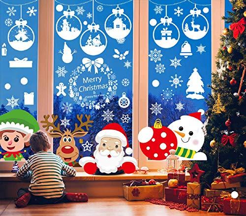Tuopuda Natale Vetrofanie Adesivi Fiocco di Neve Palla Sticker Natale Adesivi Finestra Decorazione Vetrina Natale Wallpaper Rimovibile Fai da te Finestra Sticker (Multicolore)