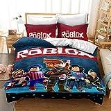 BLSM Juego de ropa de cama 3D para los fans de los juegos Roblox, fibra de poliéster con costuras Qui, cómoda funda de edredón y funda de almohada (259 x 228 cm, 3 piezas)