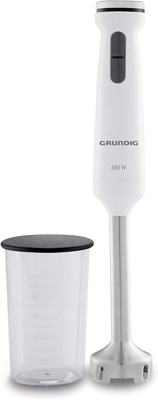 Grundig BL 6840 - Batidora de mano, 600 W, con 4 cuchillas de acero inoxidable, vaso medidor de 1 L, color blanco y negro