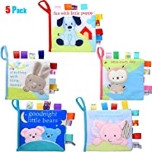 teytoy Soft Books, My First Baby Books Early Education Toys Activity Crinkle Squeak Cloth Book Baby Toy for 1+ Year Old Toddler (5 Pack)