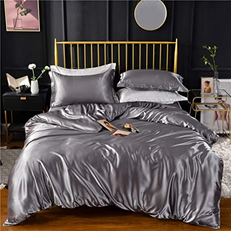 Amazon.com: Grey Gray Luxury Silk Bedding Set. Include Silk Duvet Cover,  Silk Pillow Sham and Silk Fitted Sheet. Satin Silk, Silk Blend Fabric. No  Comforter or Duvet Insert Included. Full/Queen Size. :