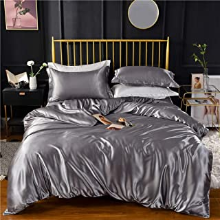 Grey Gray Luxury Silk Bedding Set. Include Silk Duvet Cover, Silk Pillow Sham and Silk Fitted Sheet. Satin Silk, Silk Blend Fabric. No Comforter or Duvet Insert Included. Full/Queen Size.