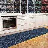 casa pura Küchenläufer Granada in großer Auswahl | strapazierfähiger Teppich Läufer für Küche Flur UVM. | Rutschfester Teppichläufer/Flurläufer für alle Böden (80x250 cm Blau)
