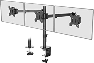 WALI Triple LCD Monitor Desk Mount Fully Adjustable Horizontal Stand Fits 3 Screens up to 24 inch, 15.4 lbs. Weight Capaci...