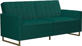 Novogratz Skylar Coil, Modern Sofa Bed and Couch, Green Velvet Futon