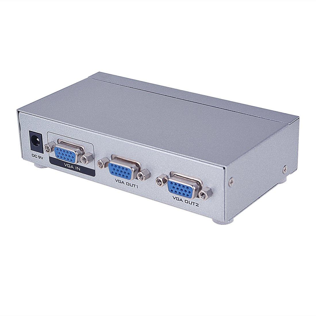 Milkee Mini Splitter VGA 2 Puerto 250MHz Ancho de Banda 1 Entrada ...