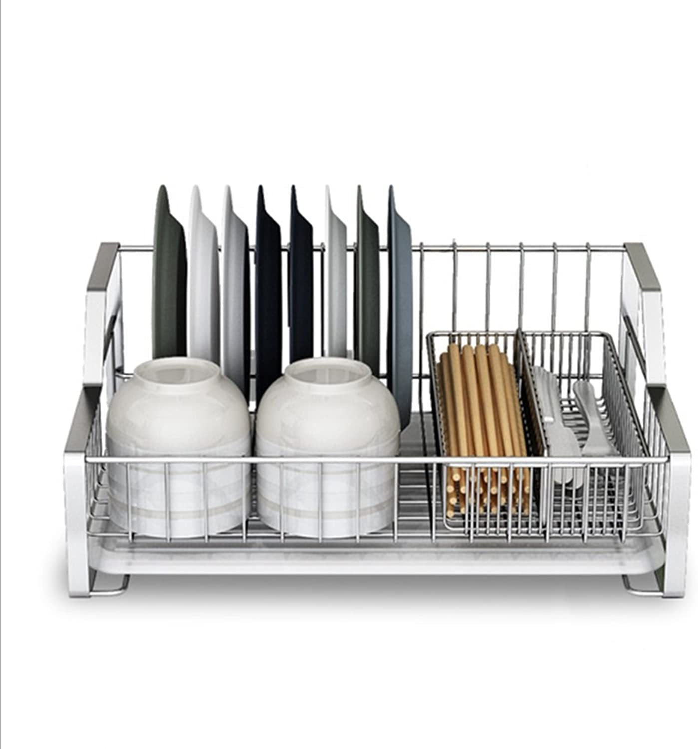 LXLA- 304 Stainless Steel Dish Rack Single Layer Simple Drain Dish Rack Kitchen Shelves Storage Drying Dishes Shelf 44×38×17cm ( color   Style 2 )