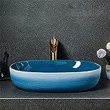 Ceramica sopra Il Lavabo Colore Pesante Artistico Spray Glaze Lavabo Creativo retrò Lavabo Ovale Lavello Bacino Singolo Domestico Bagno Lavabo, 60x40x15 Cm