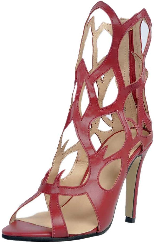 A-BUYBEA Women's Fashion Peep Toe High Heel Gladiator Flared PU Leather Sandal shoes 5-10.5