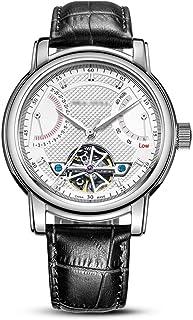 ساعة للرجال ضد الماء ساعة رجال الأعمال مؤشر مخرمة آلية ميكانيكية ساعة بحزام جلدي ساعة للرجال تناسب منحنى المعصم أسود + أبيض