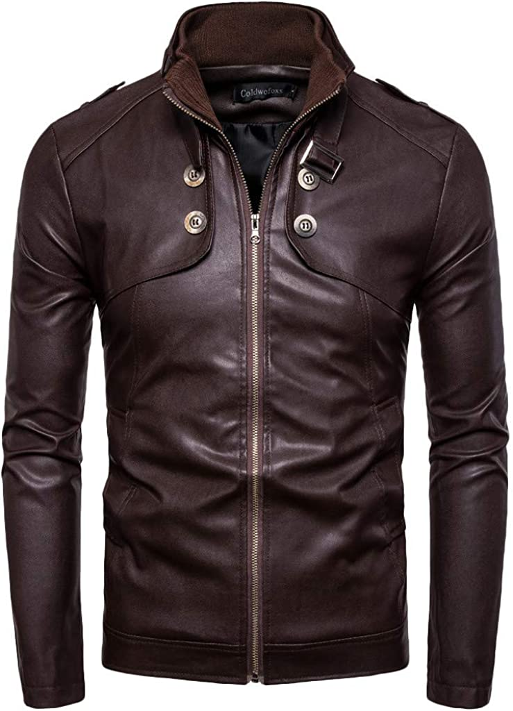 Gergeos Men's Casual Motorcycle Faux Leather Jacket Slim Fit Retro Stand Up Collar Coat M-4XL