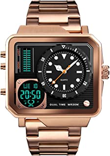 Men's Digital Sports Watch, LED Square Large Face Analog Quartz Wrist Watch with Multi-Time Zone Waterproof Stopwatch