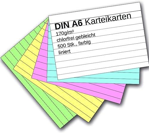 100 Karteikarten DIN A7 farbig bunt beidseitig liniert für Kartei Karten Kasten
