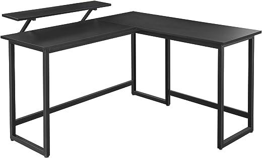 VASAGLE Schreibtisch, L-förmiger Computertisch mit beweglichem Monitoraufsatz, Eckschreibtisch, Büro, Arbeitszimmer, Gaming, platzsparend, einfache…