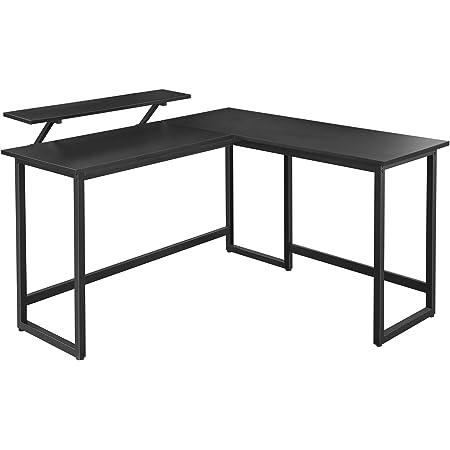 VASAGLE Bureau en Forme de L, Table d'Angle avec Support d'écran, pour étudier, Jouer, Travailler, Gain d'Espace, Pieds réglables, Cadre métallique, Assemblage Facile, Noir LWD56BK