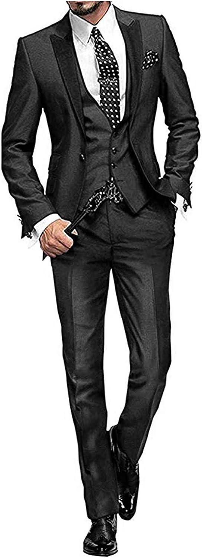 GATMSTZ Men's 3 Pcs Dress Suit Peak Lapel Blazer Coat 4 Buttons Vest Straight Pants