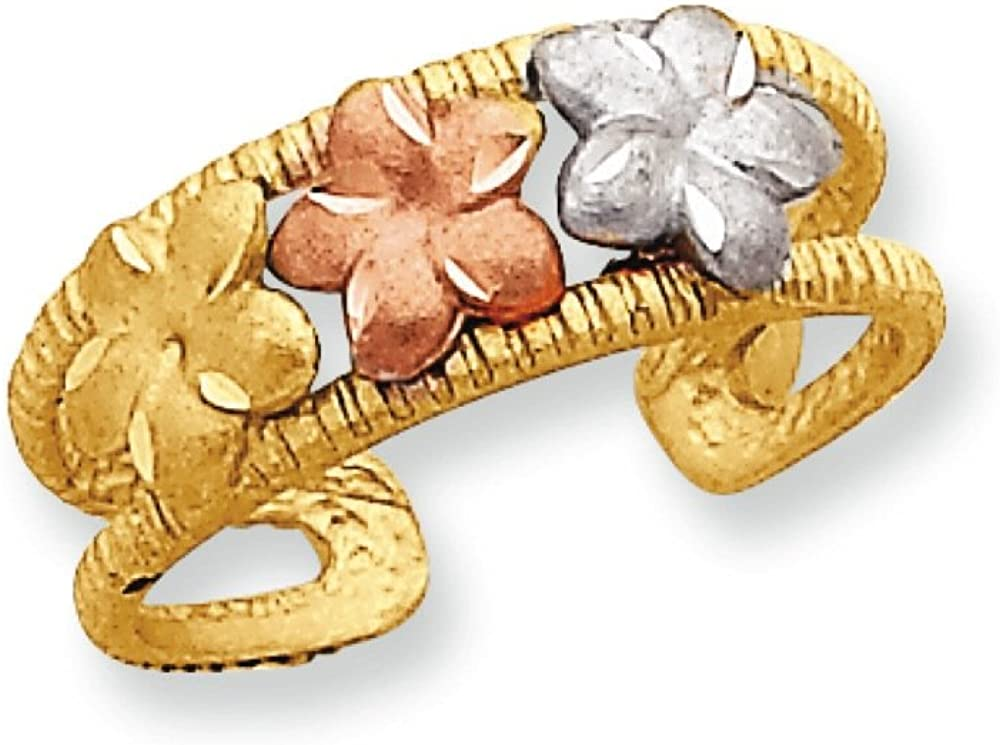 Women's 14K Tri-Color Gold Plumeria Toe Ring