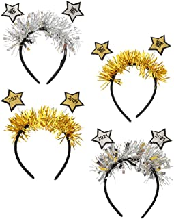 Lurrose 4pcs 2021 New Years Headbands Glitter Happy New Year Headband Fashion Haedpieces Christmas Party Accessory For Wom...