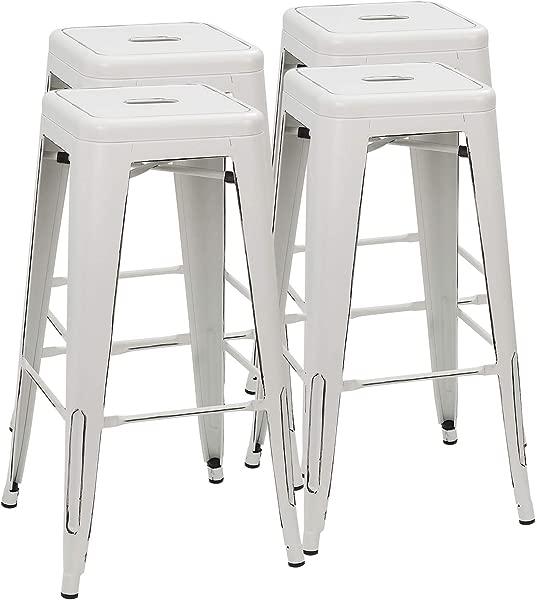 Furmax 30 英寸金属吧台凳子高无靠背凳子室内室外可叠放凳子一套 4 个仿旧白色
