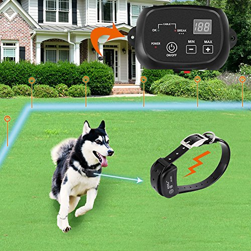 COVONO Electric Dog Fence, Pet Containment System (Aboveground/Underground, 650 Ft Wire, IP66 Waterproof/Rechargeable Collar, Shock/Tone Correction, 1 Dog System)
