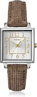 Timex Women's T2P312 Brown/Silver Leather Watch