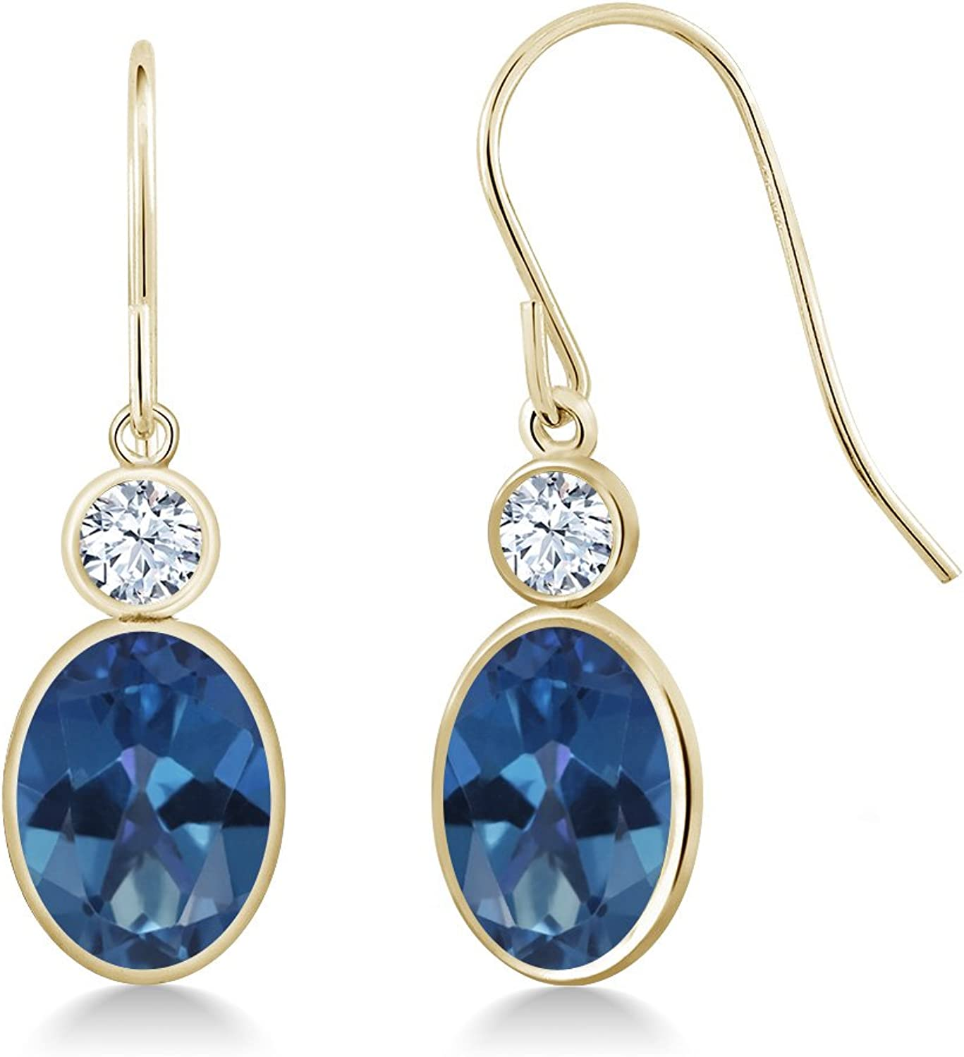 2.86 Ct Oval bluee Mystic Topaz White Created Sapphire 14K Yellow gold Earrings