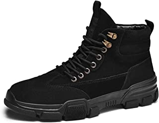 Xujw-shoes store, 2019 Mens New Lace-up Flats Ankle Boots for Men Booties Lace Up Suede Round Toe High Top Anti-Collision Toe Patchwork Stitch Non-Slip Lug Sole Height Increase Durable