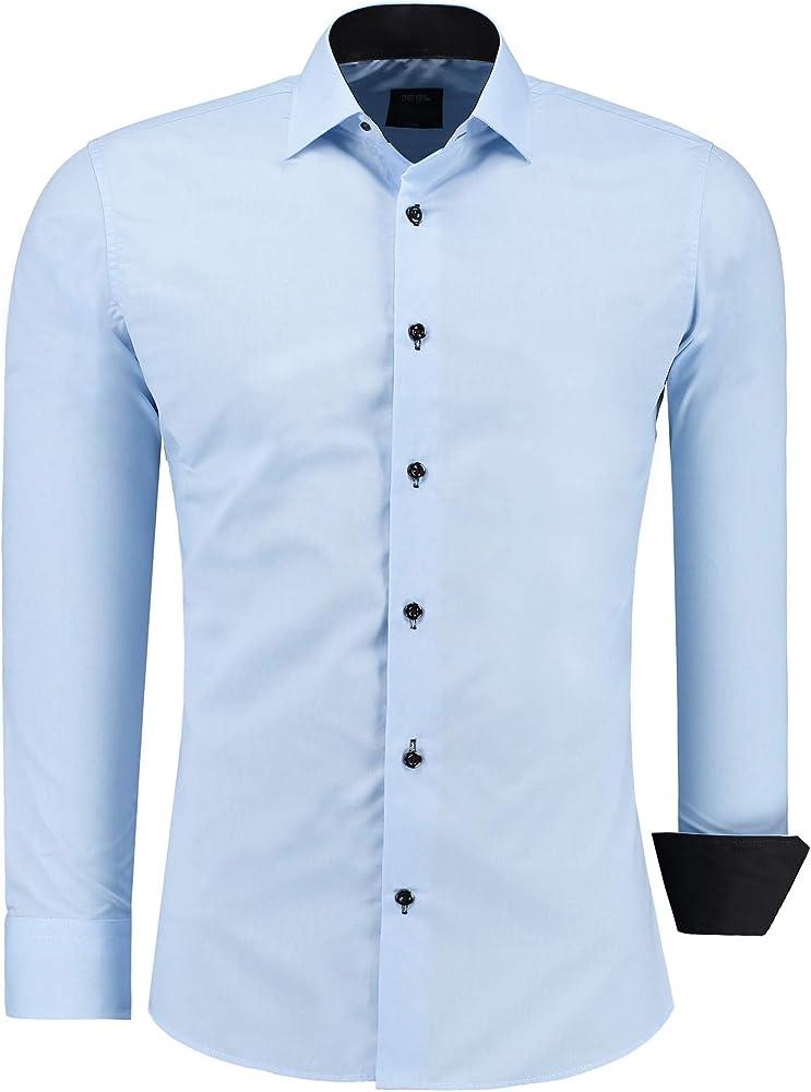 jeel camicia da uomo - slim fit, a maniche lunghe , 70% cotone, 30% poliestere 12105d