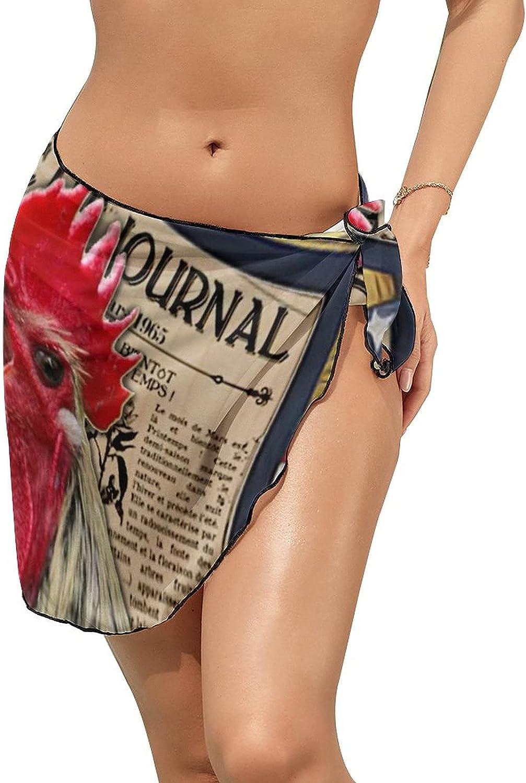 Women's Beach Sarongs Bikini Cover Ups Vintage Newspaper Rooster Sheer Swimwear Short Skirt
