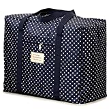 (Island-Puppy) 大型 旅行 バッグ 布団 衣類 袋 防水 大容量 収納 トラベル 引越し 避難 用 (水玉青/XLサイズ)