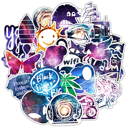 Galaxy Stickers Pack 100 Pcs Suitcase Stickers Vinyl Decals for Laptop Bumper Helmet Ipad Car Luggage Water Bottle