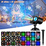 Fitfirst Christmas Decoration Projector Lights, 2 in 1 Ripple Ocean Light with 12 Slides Patterns, Waterproof Outdoor/Indoor Landscape Decoration Light