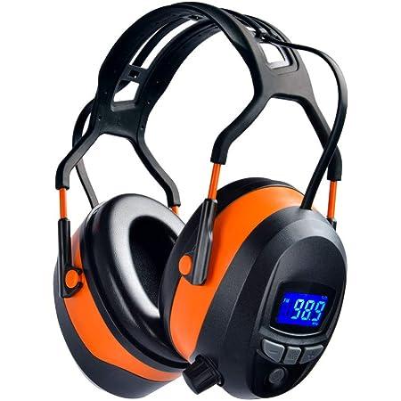 Schwarz PROTEAR Gehörschutz mit FM//AM Radio,Kompatibel mit Handy und MP3,SNR