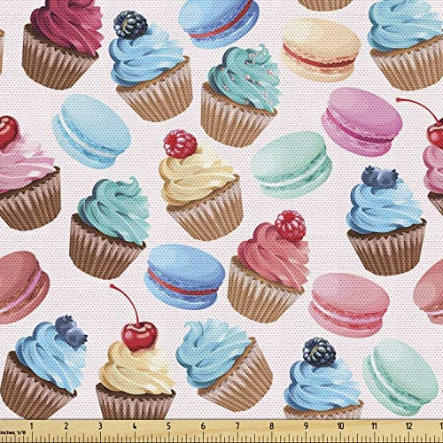 Lunarable Colorful Fabric by The Yard Macarons and Cupcakes with Berries on Top Delicious Deserts product image
