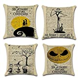 LoveHome Decor Romantic Nightmare Before Christmas Decorative Throw Pillow Covers, Vintage Newspaper Background Pillow Case Cushion- Capture Your Special Day in a Unique Way