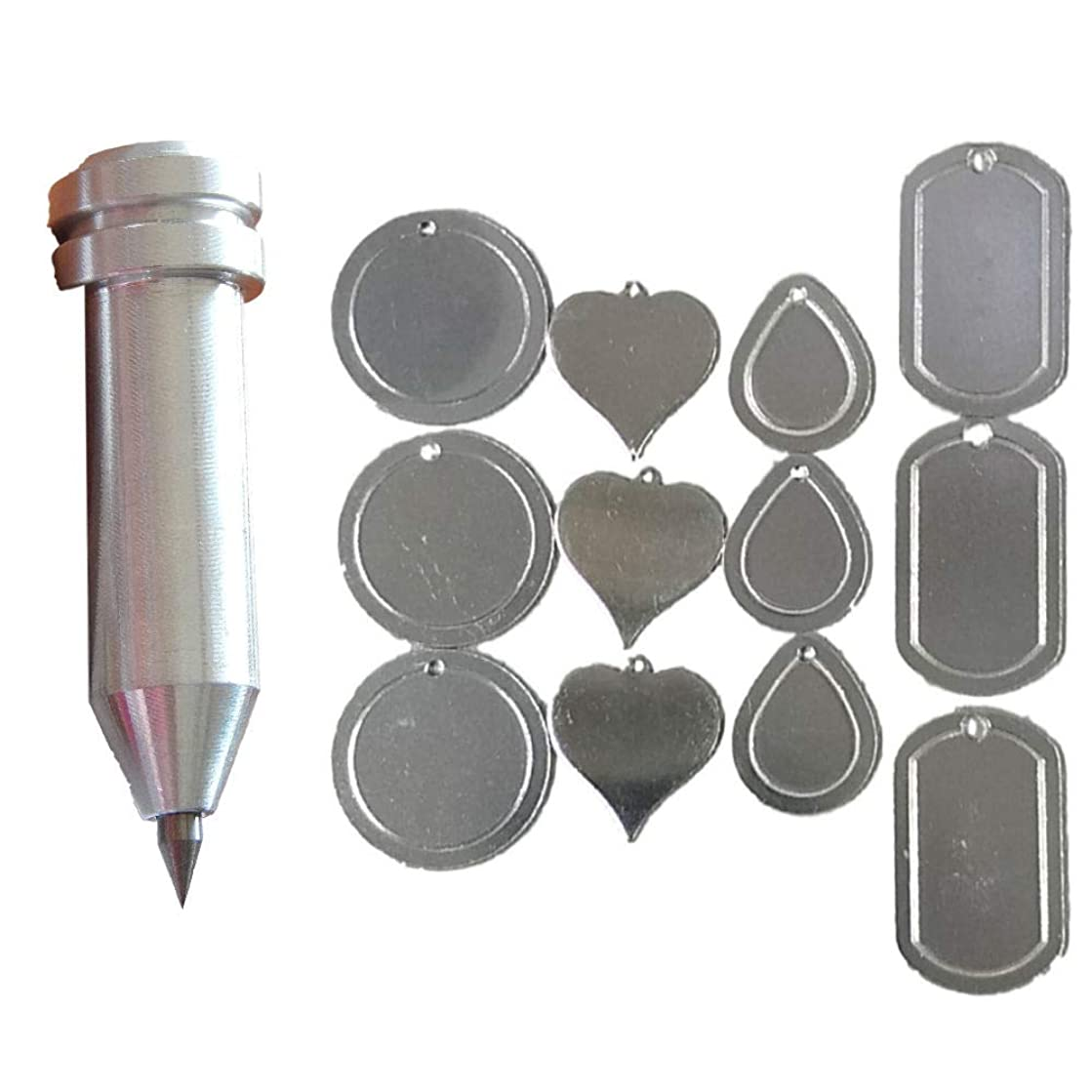 Precision Engraving Tool for The Cricut Maker and Explore by Chomas Creations and 12 Stamping Blanks (13 Pieces) (Set 1)