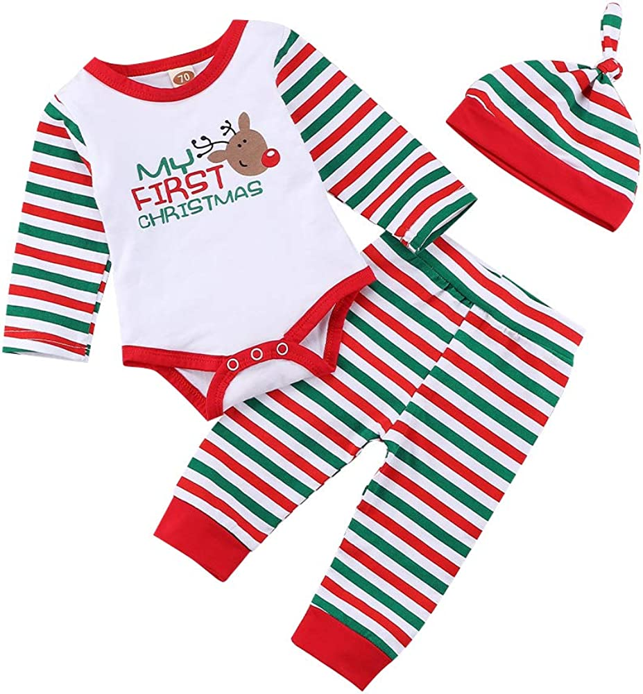 My 1st Christmas Baby Boy Outfits Romper Bodysuit Santa Pants with Hat Christmas Clothes Set