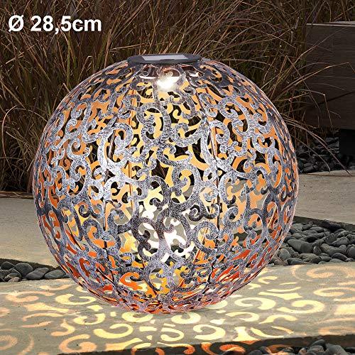 LED Solar Design Außen Lampe Dekor Stanzungen Garten Erdspieß Leuchte Balkon Terrassen Kugel Strahler silber antik